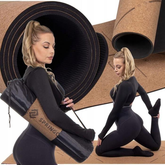 SPRINGOS® Tapis de yoga en liège avec imprimé mandala, 185 x 61 cm, épaisseur 6 mm