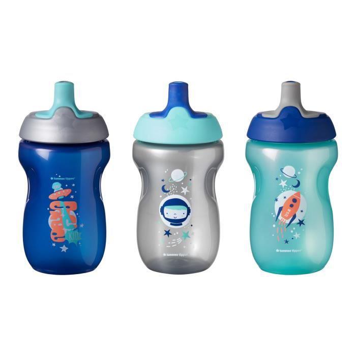 TOMMEE TIPPEE Tasse Sporty pour enfant - bleu - 12 mois + - Lot de 3