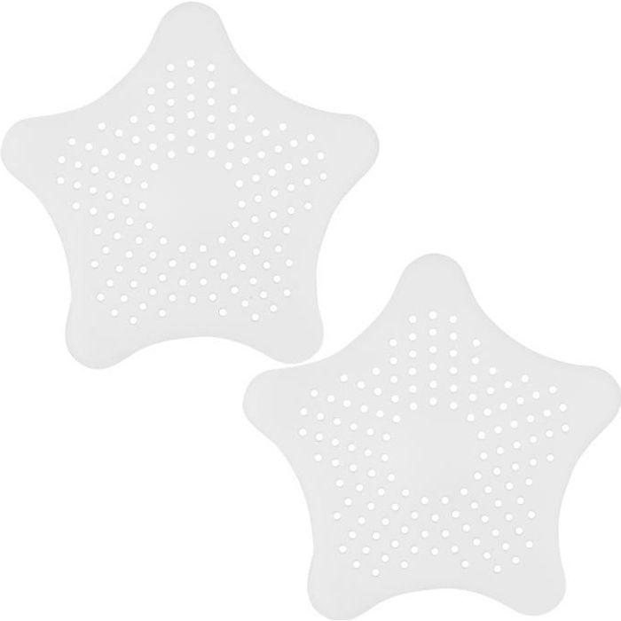 TRIXES Paire de Filtres Siphons Pièges Blancs en Silicone Forme d'Étoile pour Évacuation Bonde de Douches Lavabos