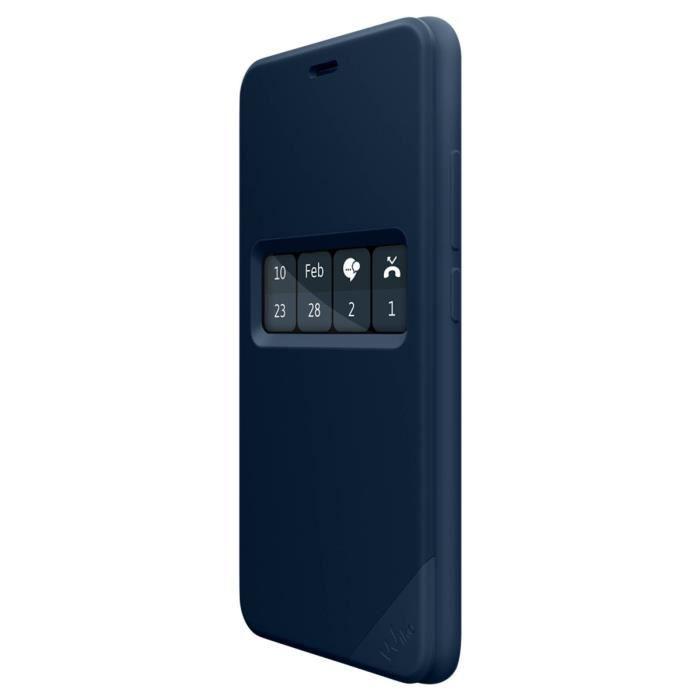 Housse folio fenêtre interactive wiboard original Wiko Upulse Lite - Bleu nuit
