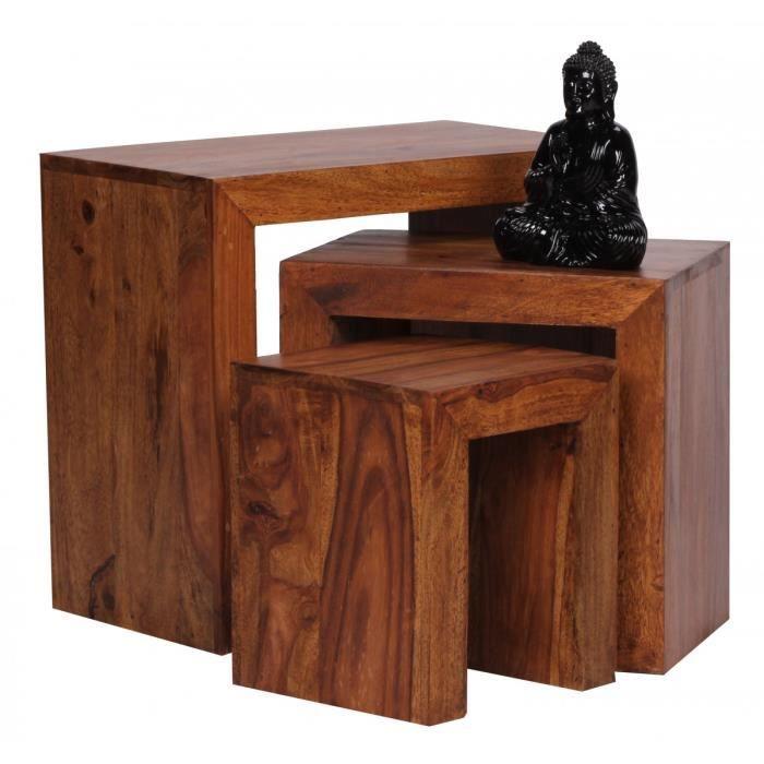 Ensemble de 3 tables gigognes design en bois