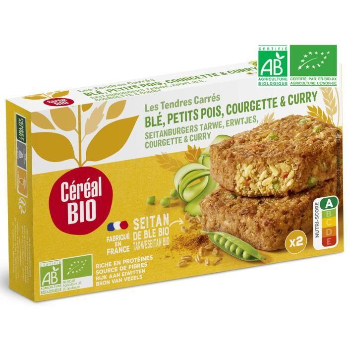 CEREAL BIO Tendres carrés de blé à base de petit pois, courgette et curry Bio - 200 g