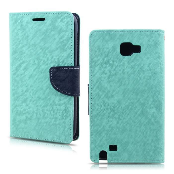 feu vert encre bleu housse pour samsung galaxy note 1 n7000 porte monnaie en cuir pu etui stand. Black Bedroom Furniture Sets. Home Design Ideas