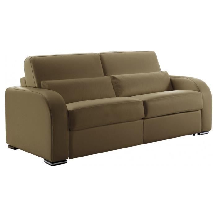 Canap lit cuir rapido 3 places evan taupe achat vente for Canape lit cuir 3 places