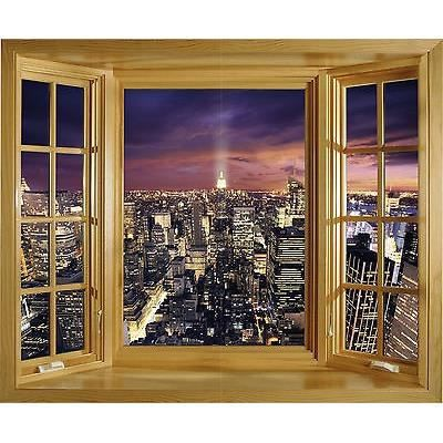 Sticker trompe l 39 oeil fen tre new york 85x70cm r f 234 for Stickers fenetre new york