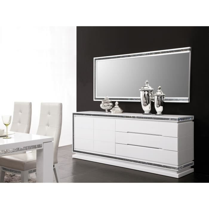 enfilade design blanc laqu avec strass blanc achat. Black Bedroom Furniture Sets. Home Design Ideas