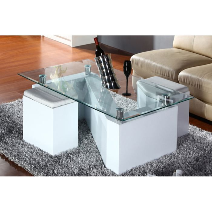 Table basse design blanche 2 poufs zeta achat vente for Table basse blanche design