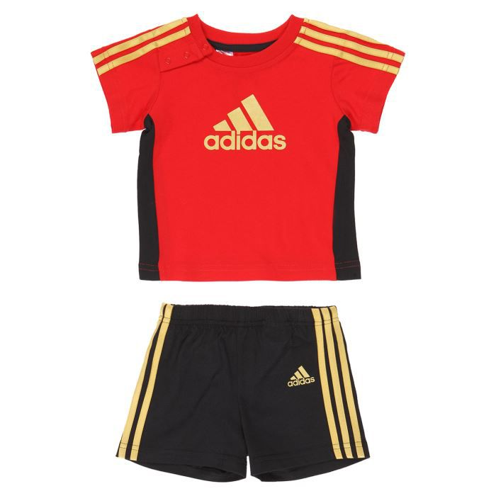 adidas ensemble t shirt short b b gar on rouge et noir achat vente ensemble tenue de. Black Bedroom Furniture Sets. Home Design Ideas