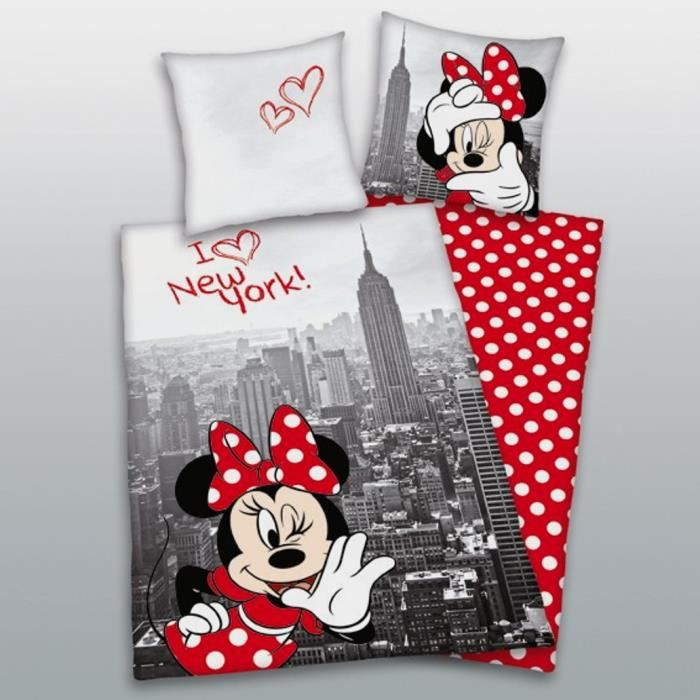 linge de lit minnie mouse en new york 80 x 80 cm et 135 x. Black Bedroom Furniture Sets. Home Design Ideas