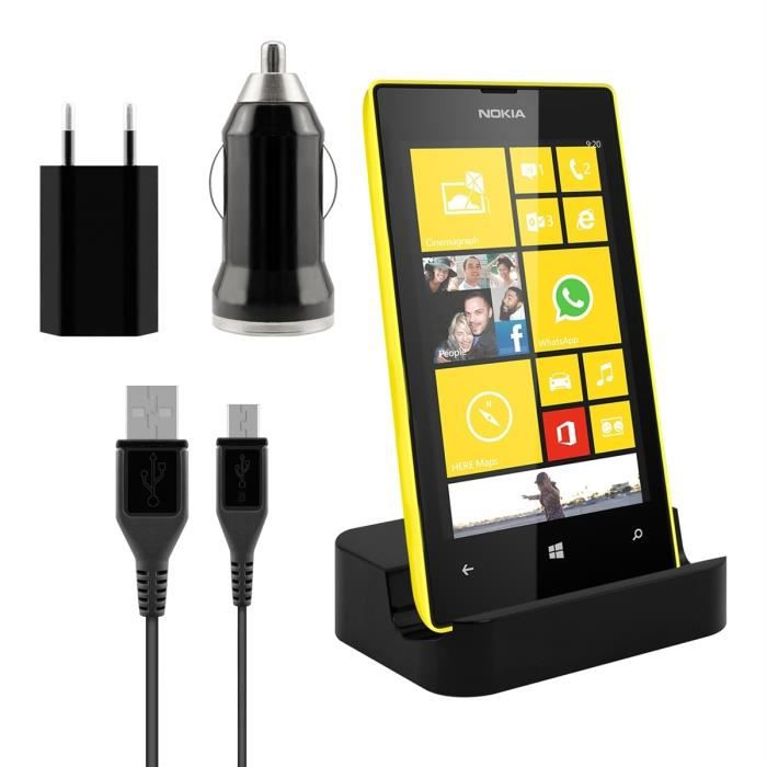 kwmobile station d 39 accueil micro usb pour nokia lumia 520 noir kit de chargement haut de. Black Bedroom Furniture Sets. Home Design Ideas