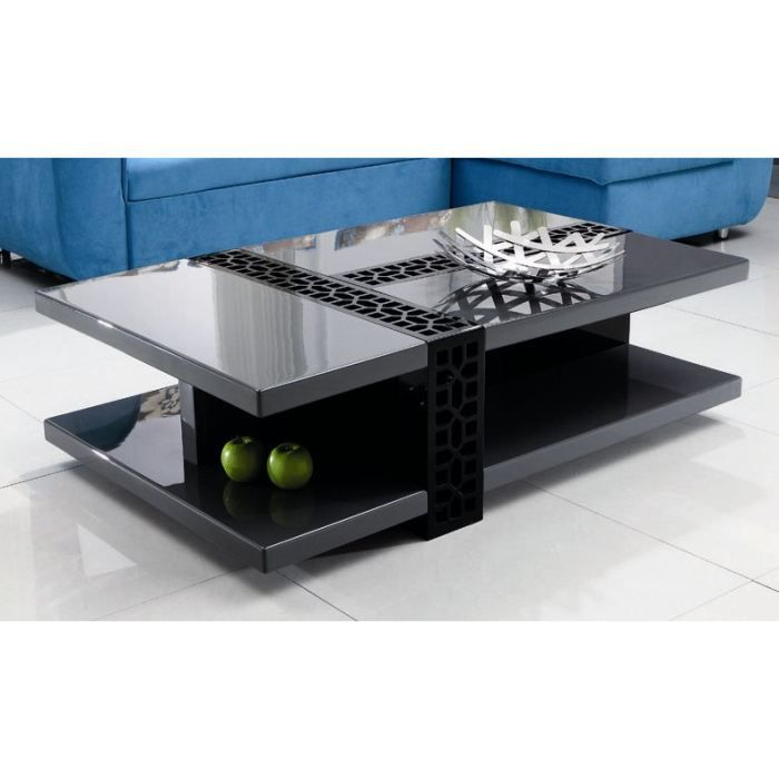 table basse design laqu noir gris anthracite kate achat. Black Bedroom Furniture Sets. Home Design Ideas