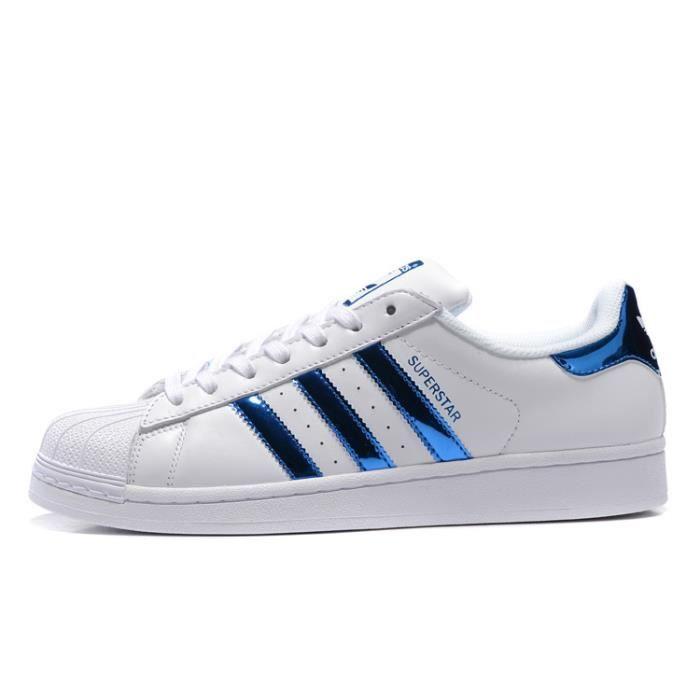 adidas superstar femme blanc bleu