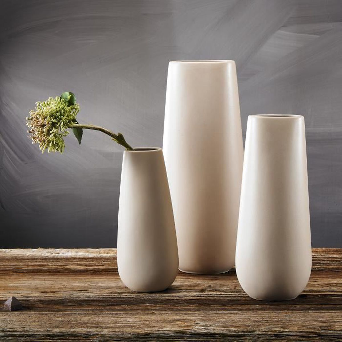 Décoration Entrée De Maison pure.lifestyle 3pcs vases rond soliflore gris décoration
