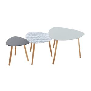 TABLE BASSE Lot de 3 tables café bois Miléo Vint