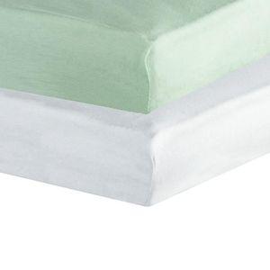 Lot de 2 draps housse pour matelas 60x120cm coloris vert