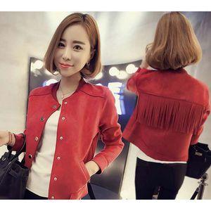 BLOUSON M  -   rouge veste en peau de daim court manteau f