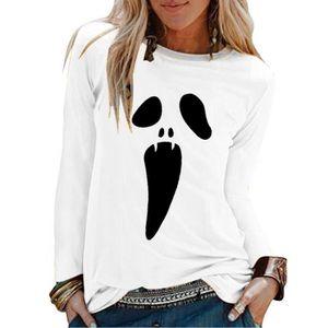 T-SHIRT Femmes Halloween Print Shirts O-cou à manches long