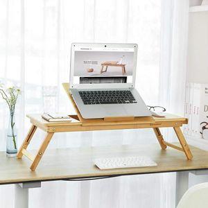 SUPPORT PC ET TABLETTE Songmics® Table de lit pliable en Bambou pour PC O