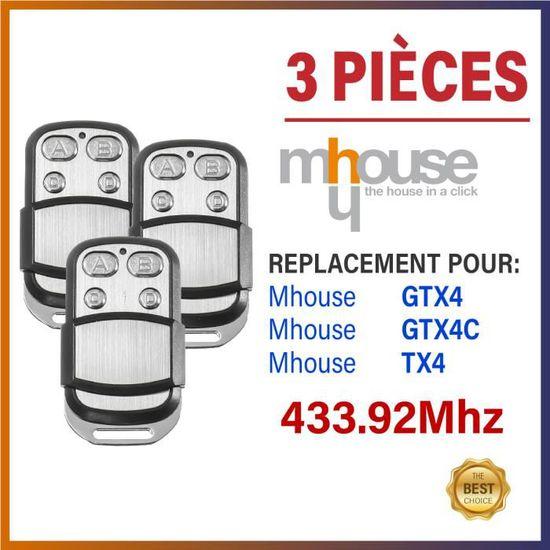 MHOUSE Gtx4 T/él/écommande de rechange de qualit/é Mhouse t/él/écommande compatible TX4 /émetteur 433,92/MHz Mhouse