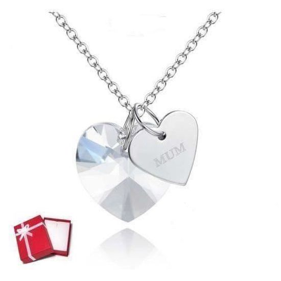Chaîne et Pendentif Coeur Cristal Swarovski* Blanc Plaqué Or Blanc 750