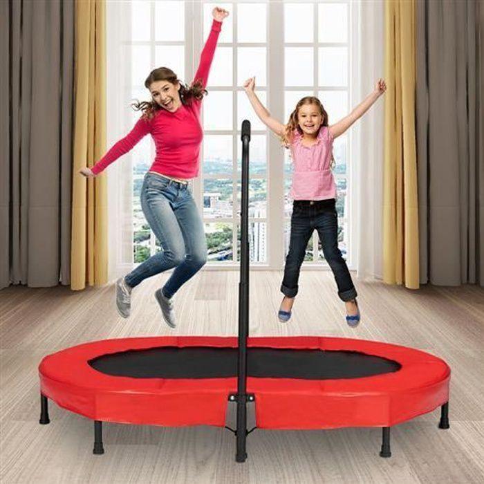 Mini Trampoline Fitness Pliable Exterieur-Interieur pour Adulte et Enfant avec Poignée, Capacité de Charge 100 kg Noir et Rouge