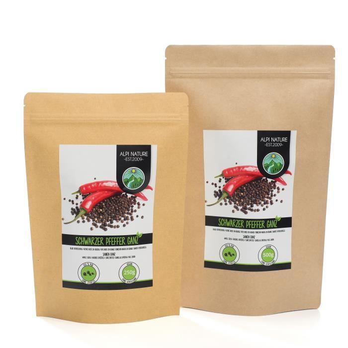 Poivre noir entier (500g), grains de poivre noir 100% naturel, bien sûr sans additifs, vegan, poivre noir