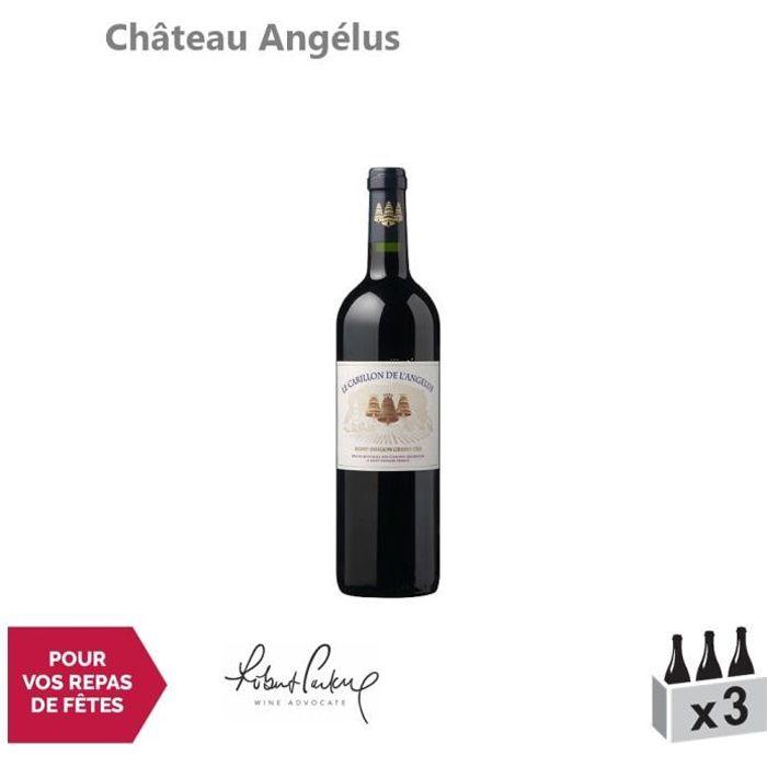 Château Angélus Le Carillon de l'Angélus Rouge 2016 - Lot de 3x75cl - Appellation AOC Saint-Emilion Grand Cru - Vin Rouge de