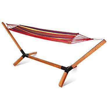 Hamac en kit avec structure en bois de hêtre 320 cm - jusqu'à 150 kg - Armature en bois pour hamac d'extérieur résistant aux intempé