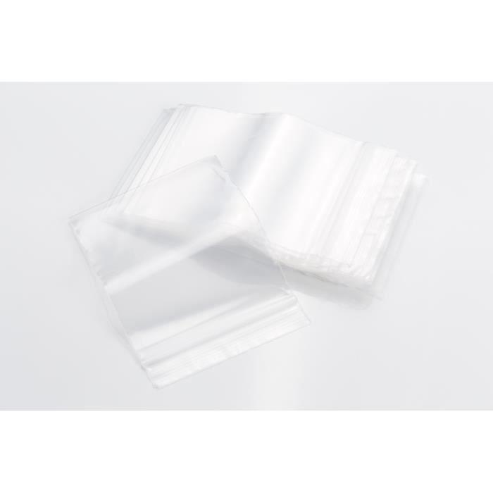 Progom - Sachets plastiques zip transparents - 60 x 80 mm - 50µ - 100 unités