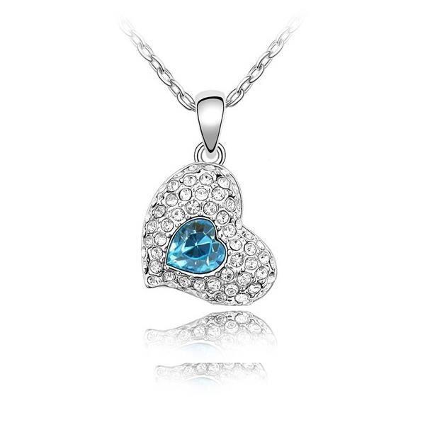 Collier Coeur battant en Cristal de Swarovski Element Bleu