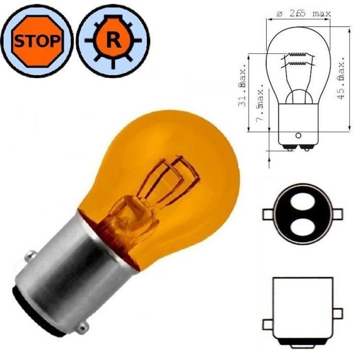 AMPOULE 12V 21/5W BAY15D ORANGE LAMPE FEU STOP ARRIERE VEILLEUSE ERGOT DECALE VOITURE AUTO MOTO SCOOTER PHARE CLIGNOTANT