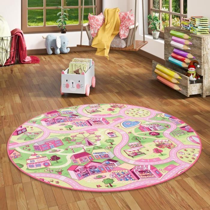 Tapis de jeu pour enfant Girls Little village motifs village rond - 4 tailles disponibles [100 cm Rond]