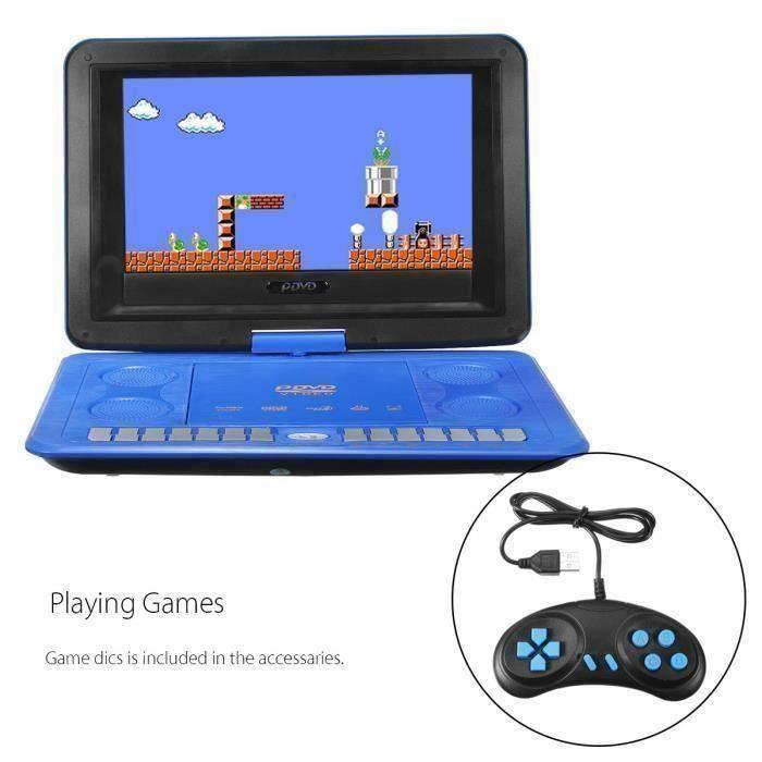13.9 - Lecteur DVD Portable avec écran Rotatif 270°, Voiture Rechargeable VCD Lecteur Télécommande, Parfait pour Enfants (Ble L013EE