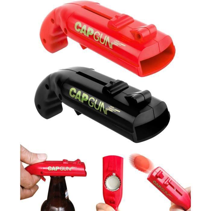 Tire Bouchon,Ouvre-Bouteilles de bière, Lot de 2 Cap Gun Décapsuleur, Ouvre-canettes en Forme de Pistolet jouet pour bar fête(2 Pack