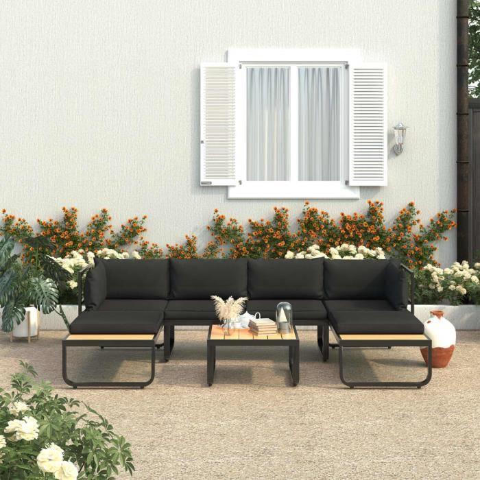 ❤Moderne Sofa Canapé de relaxation - Canapés d'angle de jardin 4 pcs et coussins - Mode - Salon de jardin Aluminium et WPC 😊56609