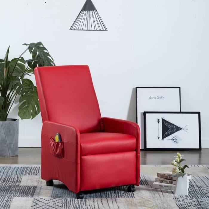 CHEZ♕3608Haute qualité Fauteuil de massage et relaxation Confortable & Chic - Fauteuil de soins Fauteuil Relax Fauteuil TV Rouge Sim