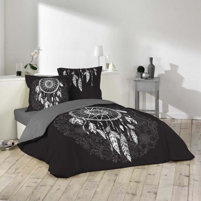 Housse de couette 260x240 cm + 2 taies d'oreiller (63x63) 100% coton 42 fils dessin place ista Noir