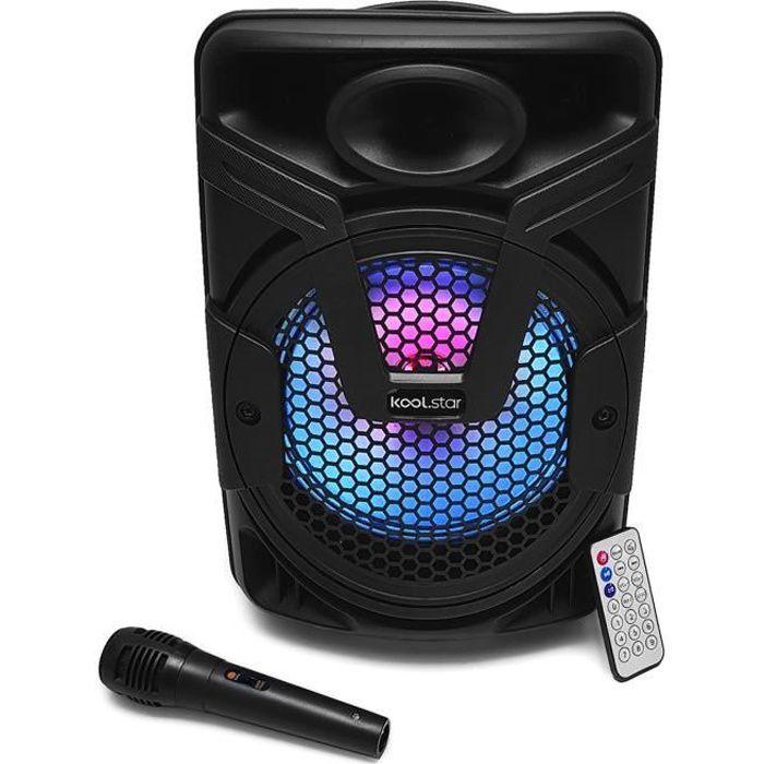 Enceinte karaoke autonome à LED KoolStar BLASTER08 à LED - USB-BT-SD - 200W - Micro + Tel