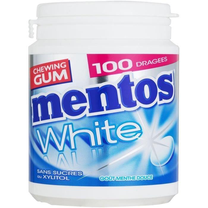 MENTOS GUM WHITE Bottle de 100 dragées sans sucres - Menthe douce