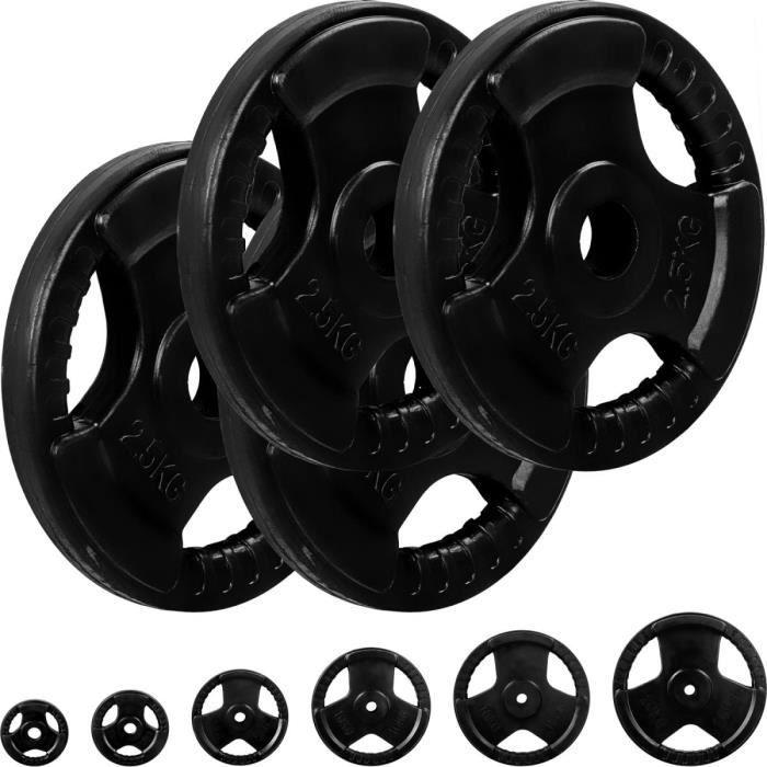 MOVIT® Poids grip en fonte revêtement caoutchouc, couleur noir 4x2,5 kg, diamètre d'alésage 31 mm