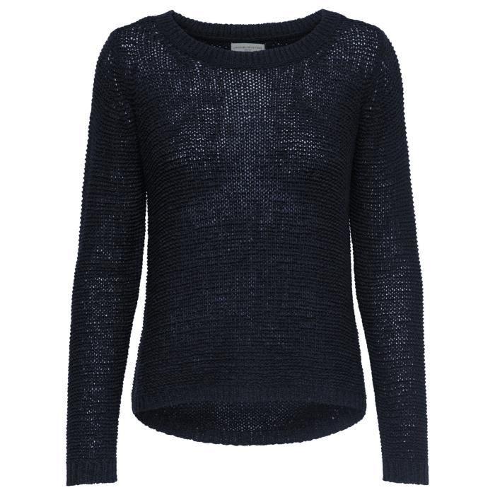 JDY Chandail tricoté pour dames Tricoté Only Pull Chemise [XL, Navy]