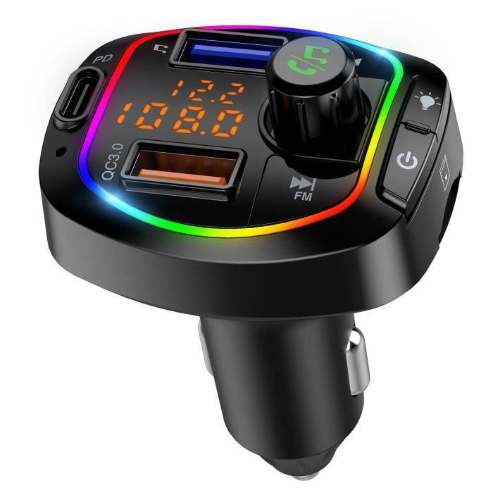 Transmetteur FM bluetooth voiture, chargeur allume cigare usb, kit main libre bluetooth voiture, QC3.0 Chargeur Rapid Voiture