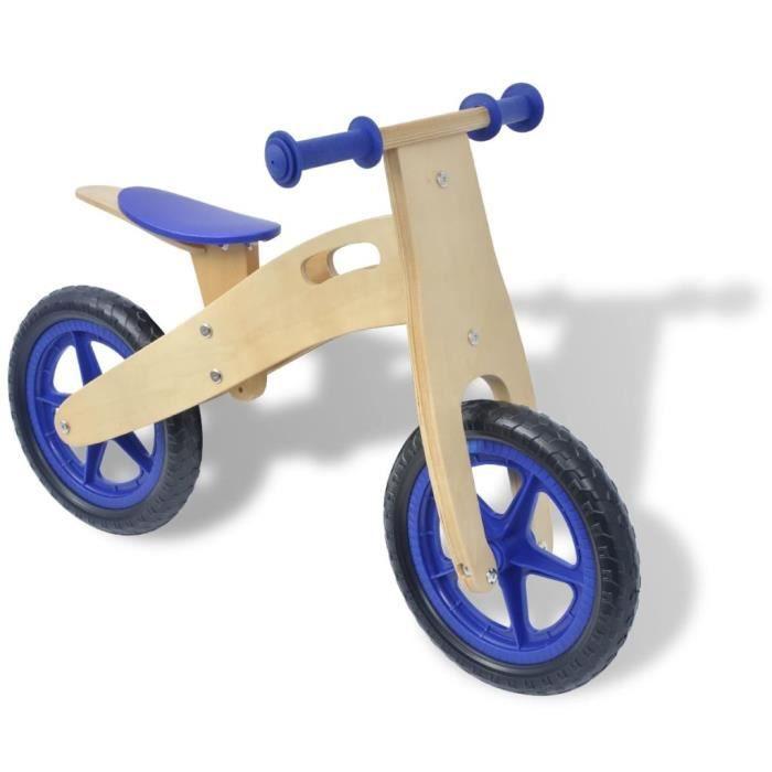 Vélo d'équilibre en bois bleu Voiture Cadeau enfant