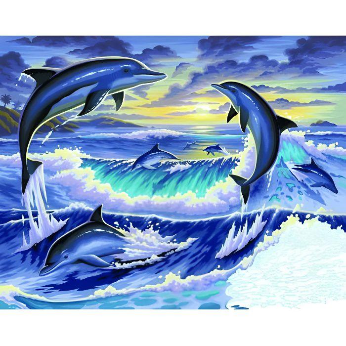 Peinture au numéro - Initiés : Dauphins au clai…