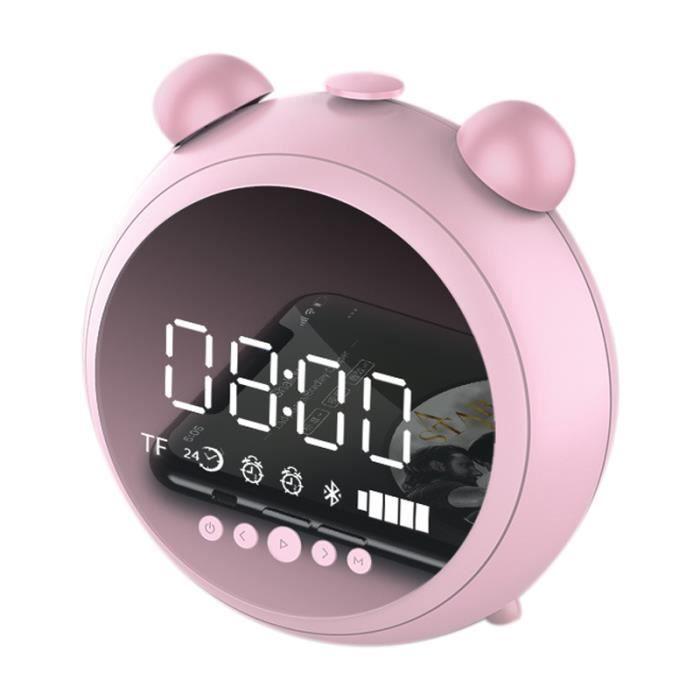 Réveil Hd Miroir avec Veilleuse Haut-Parleur Bluetooth Sans Fil Fm Radio Soutien Aux Tf Lecteur Enfants Horloge Led Digital Rose