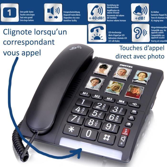 Téléphone sénior Fixe SWITEL TF540 - Avec touches photos - Volume de sonnerie très élevé - Alerte de l'appel par LED
