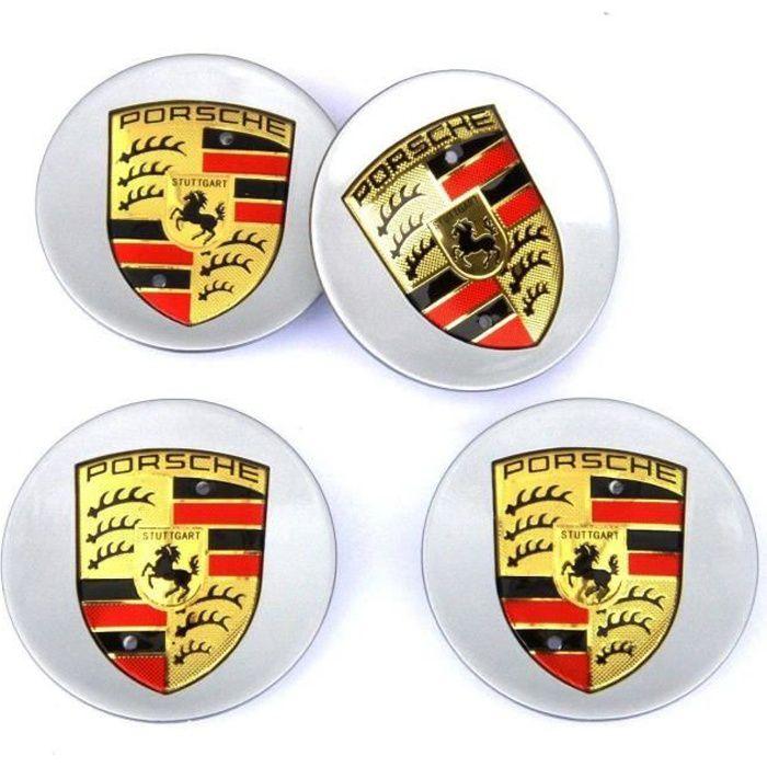 4 x bouchons roue 76 mm enjoliveur de moyeu pour la norme Porsche Gris ABS