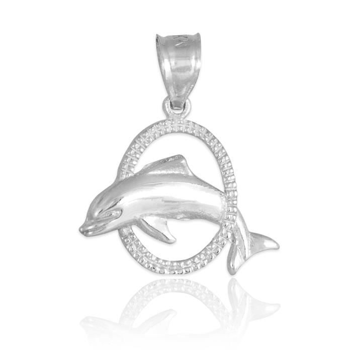 Pendentif925 bande Argent 925/1000 Jumping Dolphin Pendentif Charm