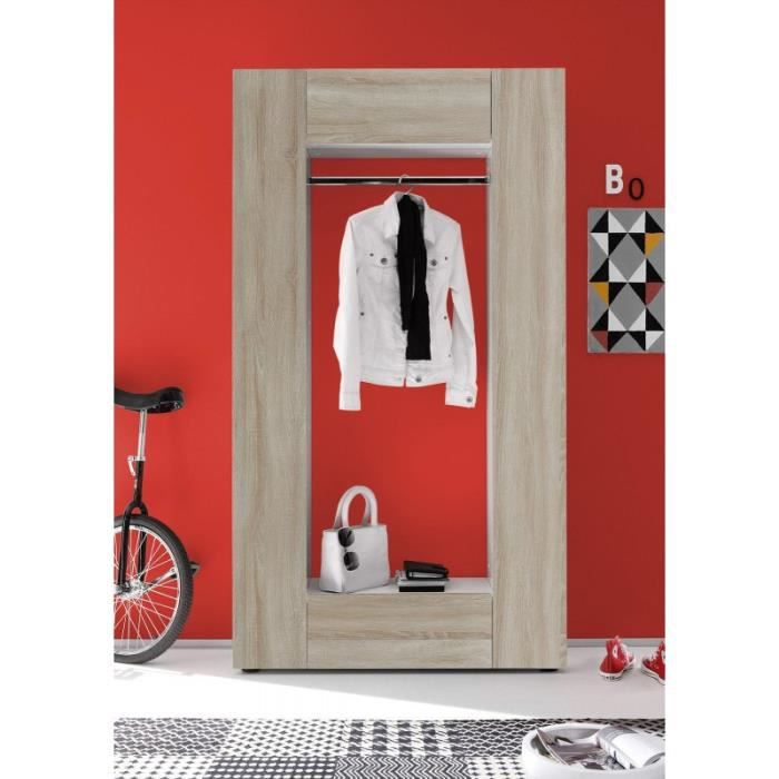 Meuble hall d 39 entr e design blanc imitation ch ne brut for Imitation meuble designer