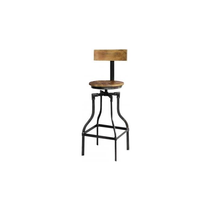 tabouret de bar industriel acacia m tal achat vente tabouret de bar marron soldes cdiscount. Black Bedroom Furniture Sets. Home Design Ideas